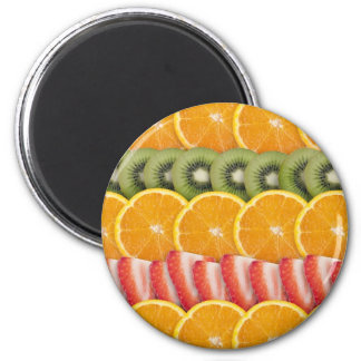 Oranges, Strawberries and Kiwi Fruit 6 Cm Round Magnet