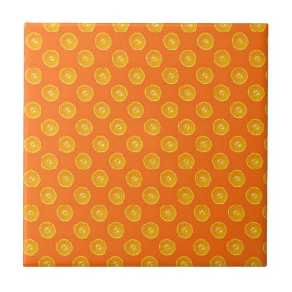 Oranges with orange background small square tile