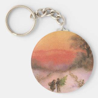 Orangey Sunset Over Snowy Lane Vintage Xmas Basic Round Button Key Ring