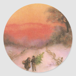 Orangey Sunset Over Snowy Lane Vintage Xmas Classic Round Sticker