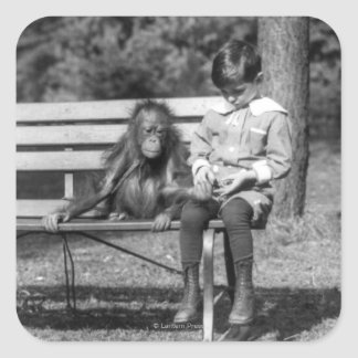 Orangutan and Boy - National Zoo Square Sticker