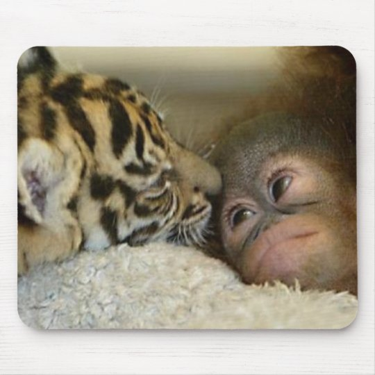 Orangutan and Tiger Mousepad