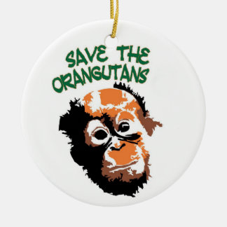 Orangutan Art Round Ceramic Decoration