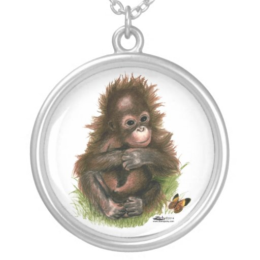 Orangutan Baby and Butterfly Pendants