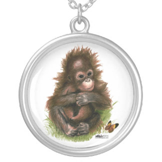 Orangutan Baby and Butterfly Round Pendant Necklace