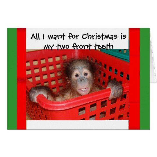 Orangutan Baby Christmas carol Card