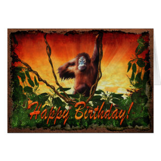 Orangutan Baby & Jungle Wildlife Birthday Card