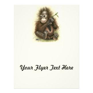 Orangutan Baby With Leaves 21.5 Cm X 28 Cm Flyer