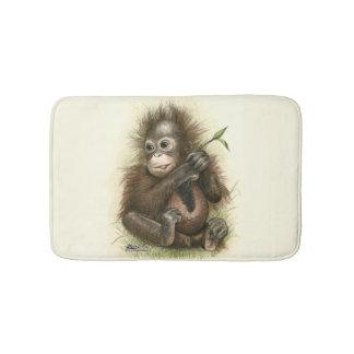 Orangutan Baby With Leaves Bath Mats