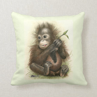 Orangutan Baby With Leaves Cushion