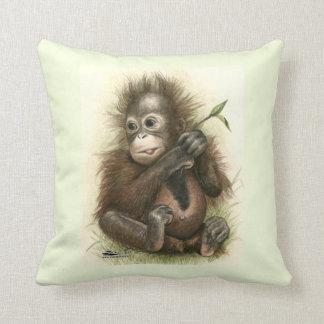 Orangutan Baby With Leaves Cushion