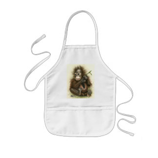 Orangutan Baby With Leaves Kids Apron