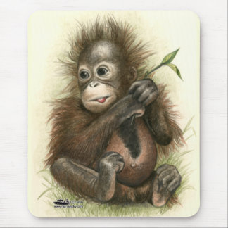 Orangutan Baby With Leaves Mouse Pad