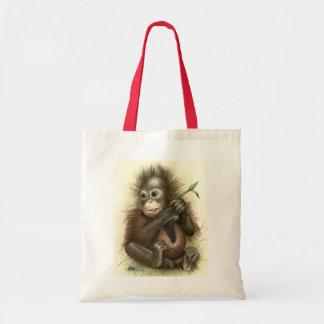 Orangutan Baby With Leaves Tote Bag