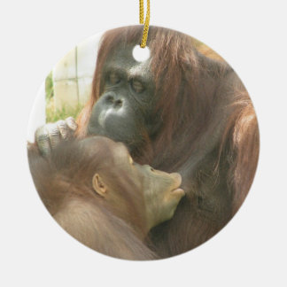 Orangutan Breastfeeding Round Ceramic Decoration