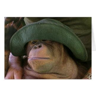 Orangutan in Army Hat Greeting Card
