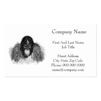 Orangutan Monkey Chimp Elegant Drawing Business Cards