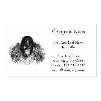 Orangutan Monkey Chimp Elegant Drawing Pack Of Standard Business Cards