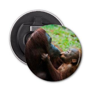 Orangutan mother and baby bottle opener