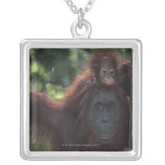 Orangutan Mother with Baby Silver Plated Necklace