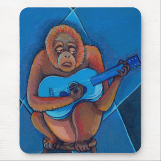 Orangutan playing guitar blues musician fun art mouse mat