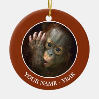 Orangutan Round Ceramic Decoration