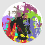 orangutan round stickers