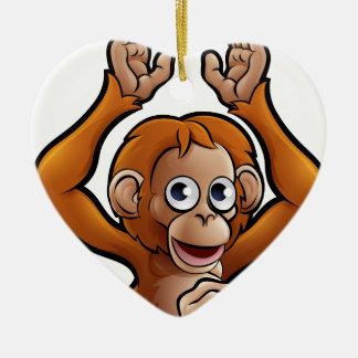 Orangutan Safari Animals Cartoon Character Ceramic Heart Decoration