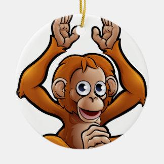 Orangutan Safari Animals Cartoon Character Round Ceramic Decoration