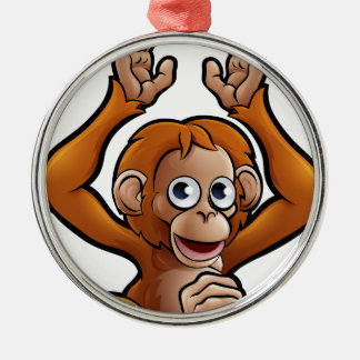 Orangutan Safari Animals Cartoon Character Silver-Colored Round Decoration