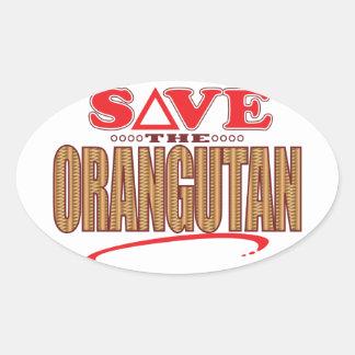 Orangutan Save Oval Sticker