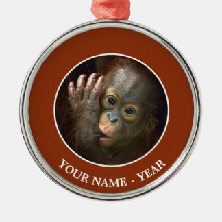 Orangutan Silver-Colored Round Decoration