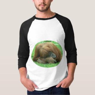 Orangutan Snoozing Men's Baseball Shirt