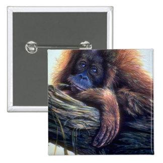 Orangutan study 15 cm square badge