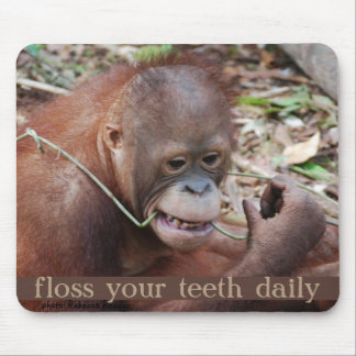 Orangutan Tooth Care Flossing Mouse Mat