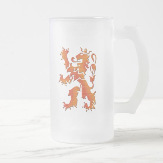 Oranje leeuw - Netherlands lion Frosted Glass Beer