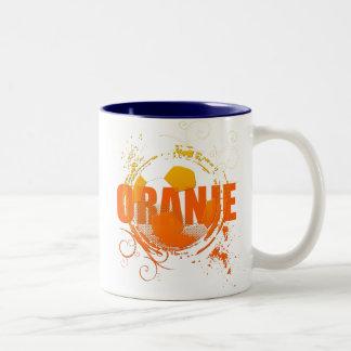 Oranje Soccer fans soccer grunge ball gifts Two-Tone Coffee Mug