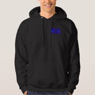 Orb Dark Blue hooded sweatshirt pocket & back