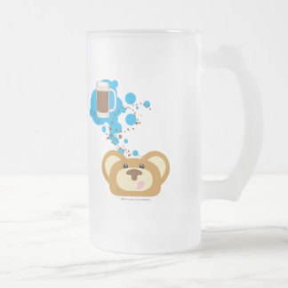 orbie bear thinking of rootbeer float frosted glass beer mug