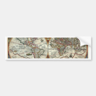 Orbis Terrarum 1594 - Famous World Map Car Bumper Sticker