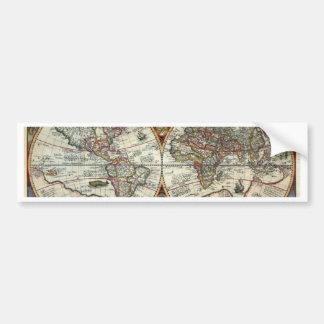 Orbis Terrarum 1594 - Famous World Map Bumper Sticker