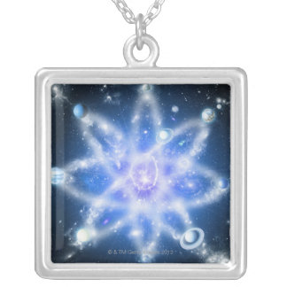 Orbits of planets silver plated necklace