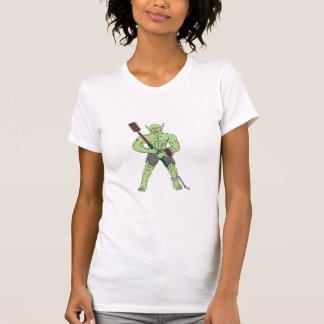 Orc Warrior Wielding Club Cartoon T-shirt