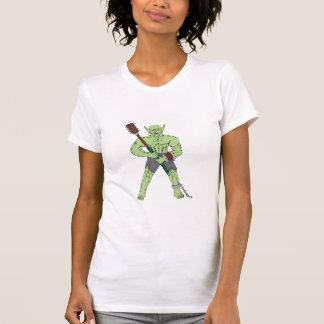 Orc Warrior Wielding Club Cartoon Tee Shirts
