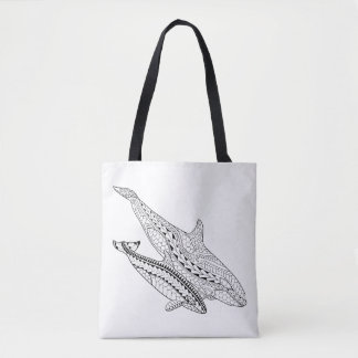 Orca And Baby Adult Coloring Full Tote