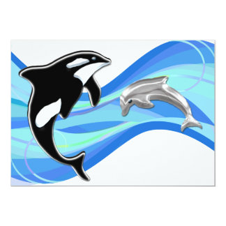 Orca and Dolphin in the Waves 13 Cm X 18 Cm Invitation Card