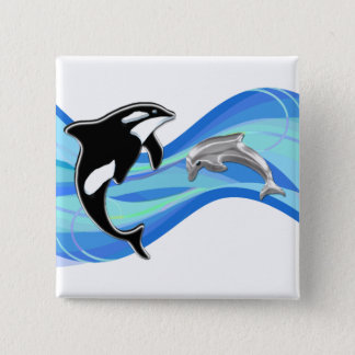 Orca and Dolphin in the Waves 15 Cm Square Badge