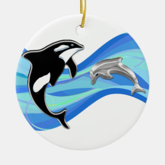 Orca and Dolphin in the Waves Christmas Ornament
