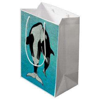 Orca Blue Woodblock Medium Gift Bag
