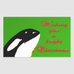Orca Christmas Hops to the Holiday Rectangular Stickers